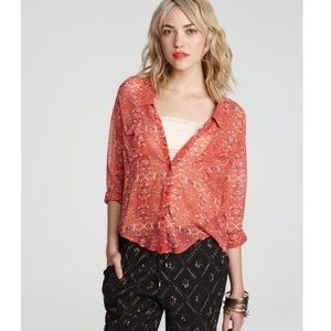 Free People Easy Rider Button Up Sheer Blouse XS